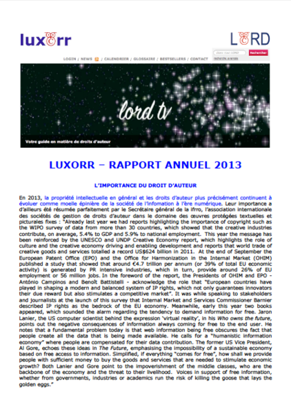 luxorr - Rapport annuel 2013