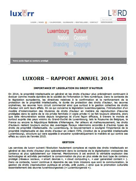 luxorr - Rapport annuel 2014
